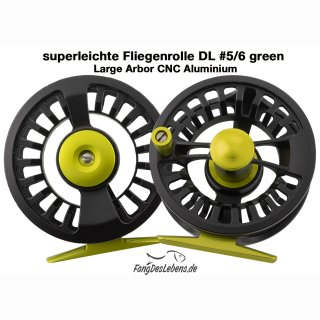 Fliegenrolle #5/6 DL Green, Large Arbor CNC Alu